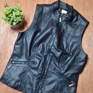 Paris Blues Faux Leather Sleeveless Jacket Top